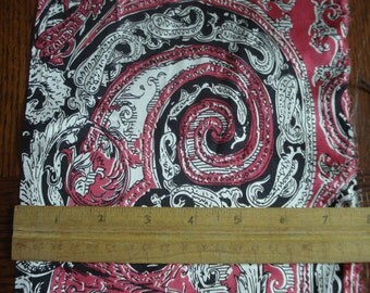 100% Silk Charmeuse  Paisley - Red and Black
