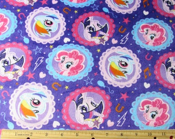 "MINKY My Little Pony Purple Fabric 26"" Remnant/ Bolt end 1437"
