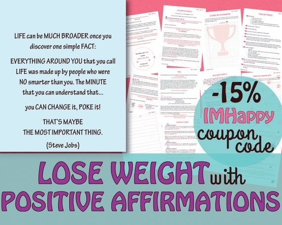 LOSE WEIGHT Positive Affirmation Workbook/Affirmations Exercises//Law ...