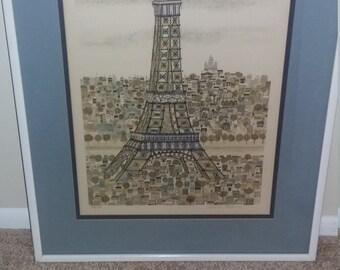 Original Christine Chagnoux hand painted Paris Eiffel Tour Etching-Famous Illustrator-Numbered Piece