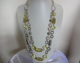 Vintage 1990s Lemon Acrylic and Wire Necklace