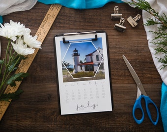 """Inina, A Hexagon Calendar Collection, Sized at 5.5""""x 8x5"""" and Featuring Lighthouse Photographs."""