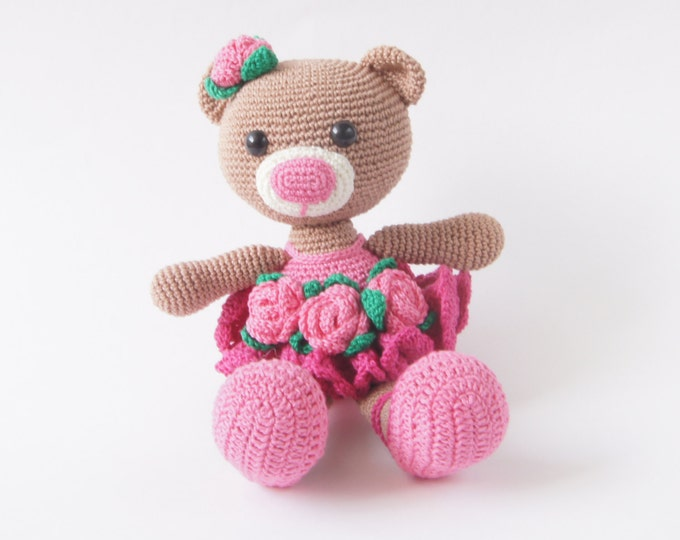 Crochet Toy Teddy Bear Ballerina Amigurumi StuffedToy Present Gift for Boy Girl Baby Shower Pink Handmade