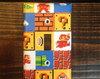 Super Mario Brothers Light Switch And Other Style Covers | Super Mario Bros - Mario Room Decor - Nintendo Decor - Video Game Decor - Decal