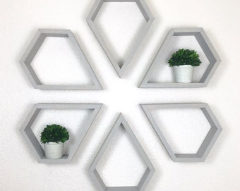 Set of 6 Diamond Shelves, Choice of Stain, Diamond Shelf, Grey Shelves, Geometric Shelf, Nursery Decor, Wall Shelf, Modern Shelves, Triangle