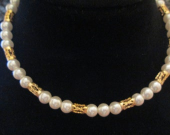Vintage 1950's Gold and PEARL Choker>> very different! Sooo pretty