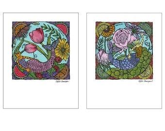 Pair of Catfish Cat Mermaid Art Prints 11 x 14
