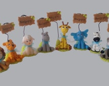 Set of 8 to animals Capucakes handmade cake topper  polymer (cold porcelain) With or Without name