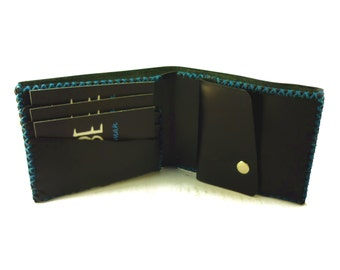 Man leather wallet, black, luxury and shine leather. Very strong.