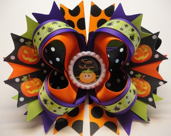 "HALLOWEEN  ""Happy Halloween!"" Pumpkin Boutique Stacked Hair Bow Black/Orange/Purple W5.5"" x L5.0"" H2.0"""