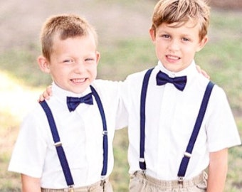 Boys Navy bow tie and suspenders, Navy bow tie, Navy suspenders, Boys Navy bow tie, Baby Navy Bow tie, Navy wedding, ring bearer