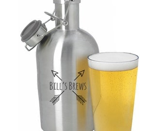 Stainless Steel Growler, 64 oz, Personalized Growler with Swing Top Lid, Matte Black Growler, Personalized Gift, Monogrammed Beer Growler
