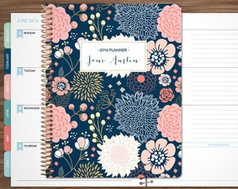 planner 2017 2018 student planner HORIZONTAL LAYOUT - TABS weekly calendar agenda daytimer / navy pink gold floral as seen on dr oz magazine