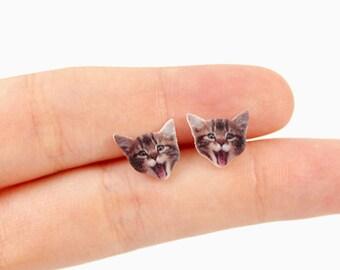 Cat Earring Kitten Earring Kitty Earring Cat Stud Earring Post Kitten Stud Kitty Stud Cat Jewelry Kitten Jewelry Kitty Jewelry Cat Gift Idea