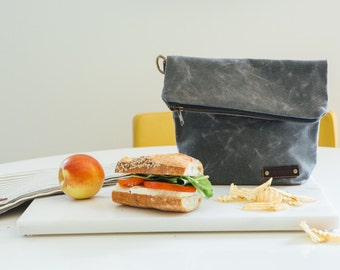 Waxed Canvas Lunch Bag, Waxed Canvas, Waxed Canvas Bag, Waxed Canvas Tote, Waxed Canvas Lunch Tote, Men's Lunch Bag, Waxed Canvas Fabric