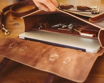 "Leather Messenger Bag, 13"" Men's Briefcase, Laptop Satchel, Work Bag, Handmade Cross-body Bag, Retro Metropolitan Fashion, Urban Style, Gift"