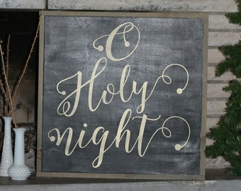 O holy night framed wood sign *Christmas sign * Christmas decor * Christmas sign *