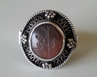 Handcrafted silver ring with antique engraved agate signet stamp Arabic writing Islamic