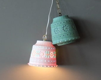 Pair of Hanging Lamps Bohemian Light Up Pendant Lights Lawnware. Perfect for a Kids Room or Outdoors
