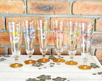 Harlequin mid century flower champagne flutes, gold gilt feet and trim vintage set of 6, wedding engagement gift