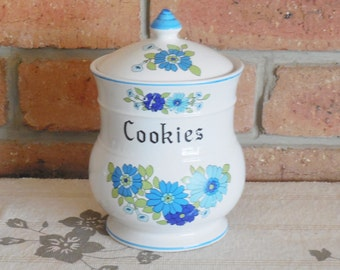 Mid century vintage blue floral china cookie jar with lid c1960s blue onion style Mother's Day gift