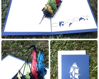 Colorful Ship Pop-up Card