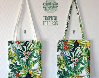 Tote bag thick fabric - shopping bag - Model TROPICAL