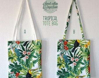 Tote bag thick fabric - shopping bag - Model TROPICAL