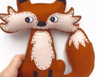 Fox Soft Toy, Felt Fabric Stuffed Animal, Baby Girl Boy Nursery Gift, Plush Soft Toy, Stuffed Animal, Baby Shower, Xmas Gift Idea, Christmas