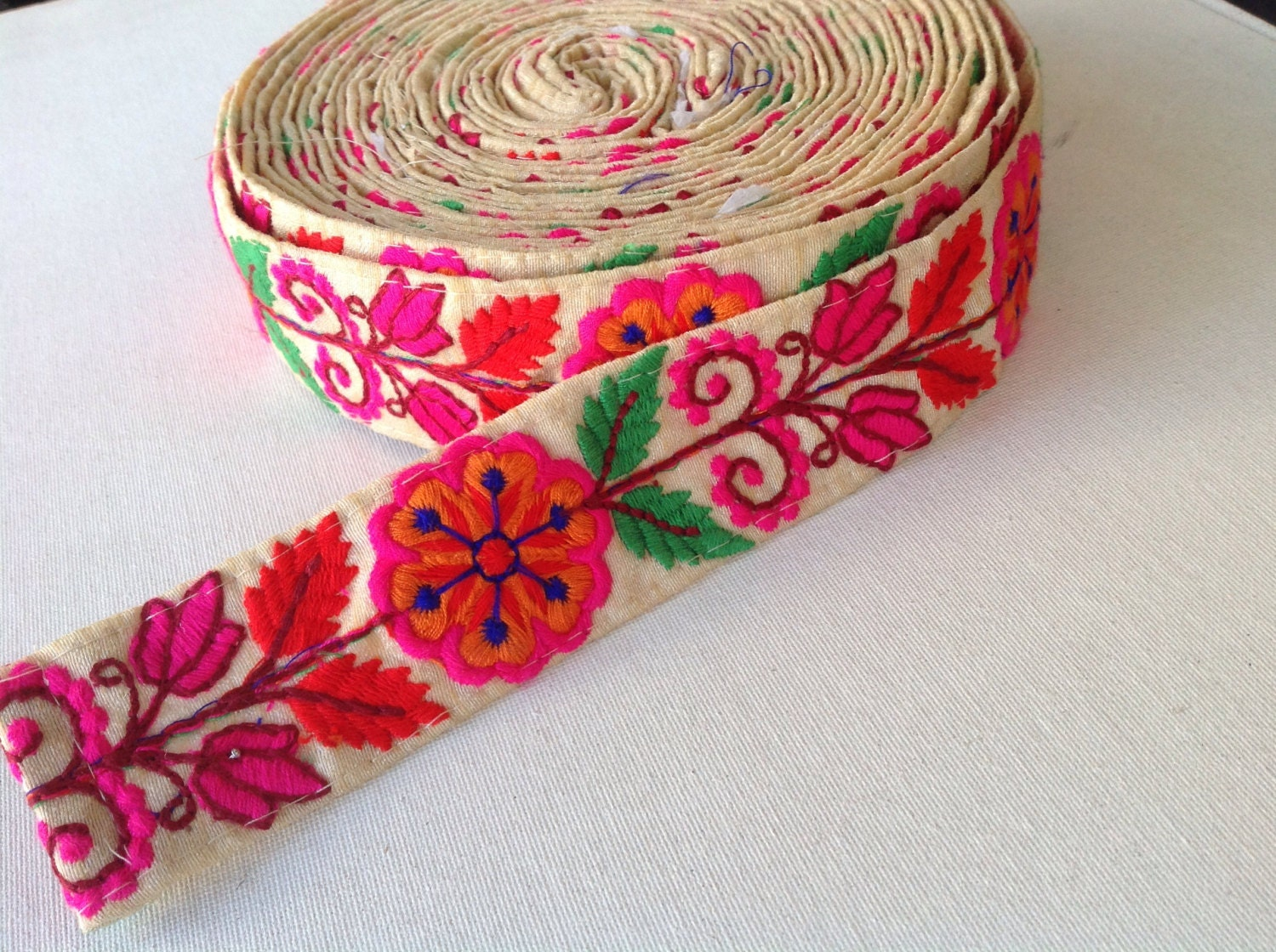 Floral embroidered trim indian trims pillow dress sold by