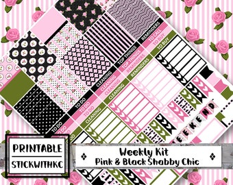 PRINTABLE Chabby Chic in Pink & Black, Erin Condren Vertical Planner, MAMBI, floral
