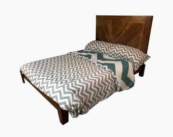 Rustic Headboard and Bed Frame Queen Sized Chevron in Natural Hickory by Candlewood Furniture