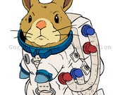 Bunny in a Spacesuit Illustration Print