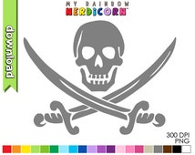 Skull and Sword Pirate Jolly Roger clipart, digital download of 20 color printable craft stencil, commercial use OK