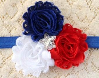Fourth of July Headband, USA Headband, Red White and Blue Headband, Baby Headband, Girls Headband, Toddler Headband, Infant Headband,
