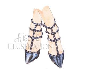 Valentino Shoe Art Print Fashion Illustration Print Heel  Watercolor
