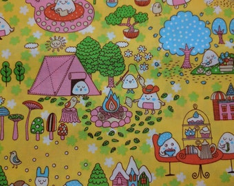 1/2 yard Kawaii fabric--Triangles enjoying life -pink-green-blue with yellow background