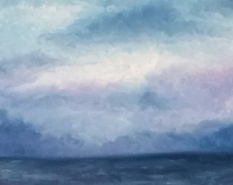 Original Oil Painting - Ocean Oil Painting - Cloud Painting - Storm Painting - Ocean Painting - Beach Decor - Ocean Decor