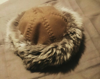 Early medieval, viking hat with fox fur