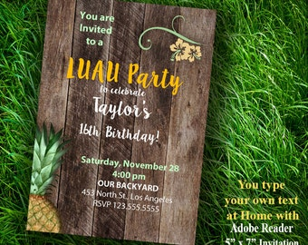 LUAU party Invitation, Tropical birthday invite, self editable invitation, Instant Download PDF file A481