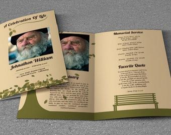 Printable Funeral Program Template | Memorial Program Template | Photoshop  U0026 MS Word Template | Instant