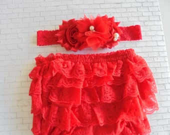 red lace bloomer set,red bloomers,red bloomers,ruffled lace bloomers,red bloomers,photo prop bloomers,birthday bloomers,baby bloomers,