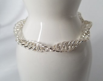 Spiral weave silver plated hand made chain maille bracelet