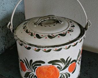 Vintage TIN BERRY PAIL with Tole Decoration