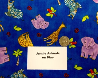 Jungle Animals on Blue Fabric - 1 and 3/4+ Yards