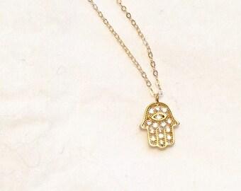 Gold hamsa necklace, cz hamsa, gold hand necklace, hand pendant, gold hand pendant,