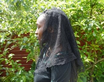 Black Lace Triangle Mantilla Veil Head covering