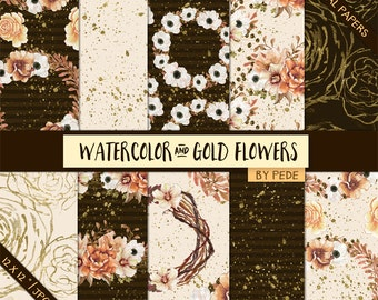 BUY 3 FOR 8 USD, Watecolor digital paper, gold pattern, floral digital paper, autumn flowers, fall digital paper, autumn printable, download