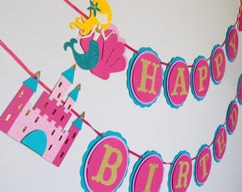 Under the Sea Mermaid Happy Birthday Banner, Pink Mermaid Birthday Banner, Pink and Teal Banner, Mermaid Party Decoration