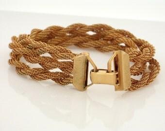 """Vintage Mesh Gold Plated 3 Twisted Rope Design BRACELET 7"""""""